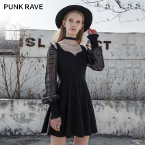 Dress Spring 2021 black XS,S,M,L,XL Short skirt singleton  Long sleeves V-neck High waist Solid color Socket A-line skirt bishop sleeve Others 18-24 years old Type A PUNK RAVE Hollowing out PQ-1028LQ 81% (inclusive) - 90% (inclusive) Chiffon polyester fiber