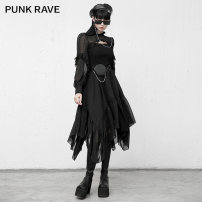 Dress Winter 2020 black XS,S,M,L,XL Mid length dress singleton  Long sleeves street other High waist Solid color zipper Irregular skirt routine Others 18-24 years old Type A PUNK RAVE PQ-933LQ More than 95% Chiffon polyester fiber Punk