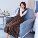 Dress Power season Brown Black M L XL XXL Korean version Long sleeves have more cash than can be accounted for autumn Crew neck Solid color cotton Q1811