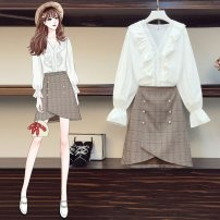 Middle aged and old women's wear Autumn 2020 Picture color suit L [100-120 Jin recommended], XL [120-140 Jin recommended], 2XL [140-160 Jin recommended], 3XL [160-180 Jin recommended], 4XL [180-200 Jin recommended] commute Self cultivation Two piece set lattice Socket moderate V-neck routine
