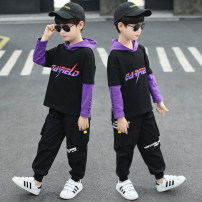 suit Star fun Purple, yellow male spring and autumn motion Long sleeve + pants 2 pieces routine There are models in the real shooting Socket No detachable cap children Expression of love