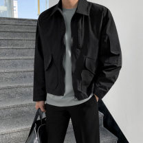 Jacket Mrcyc Youth fashion black M. L, XL, 2XL, reference: model height 177 weight 120 try on L routine easy Other leisure spring Long sleeves Wear out Lapel tide teenagers short Zipper placket 2021 Cloth hem other Closing sleeve Solid color Seldingham More than two bags) Cover patch bag cotton