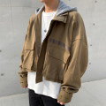 Jacket Mrcyc Youth fashion Khaki, black M. L, XL, 2XL, warm tips: loose and comfortable routine easy Other leisure autumn Long sleeves Wear out Hood tide teenagers short Zipper placket 2019 other other Closing sleeve Solid color Rough edge Cover patch bag
