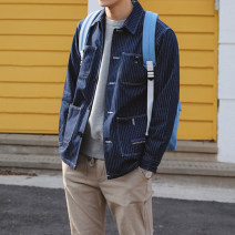 Jacket Mrcyc Youth fashion blue M. L, XL, 2XL, warm tips: loose and comfortable routine easy Other leisure autumn Long sleeves Wear out square neck tide teenagers routine Single breasted 2019 Straight hem other stripe Denim More than two bags) Hidden thread patch bag cotton