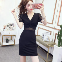 Dress Summer 2020 [short sleeve version] S M L XL XXL 3XL Short skirt singleton  Short sleeve commute V-neck middle-waisted Solid color Socket One pace skirt routine Others 25-29 years old Type X Kayichi Korean version 51% (inclusive) - 70% (inclusive) other cotton Pure e-commerce (online only)