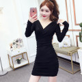 Dress Autumn 2020 black S M L XL XXL XXXL Short skirt singleton  Long sleeves commute V-neck middle-waisted Solid color Socket One pace skirt routine Others 25-29 years old Type X Kayichi Korean version Pleated fold 9111 cotton More than 95% other cotton Pure e-commerce (online only)