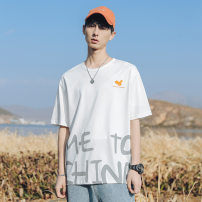 T-shirt Youth fashion Black, white routine XL,2XL,L,M Han Lu Short sleeve Crew neck easy Other leisure summer H1017 youth routine other 2021 other printing The thought of writing Fashion brand
