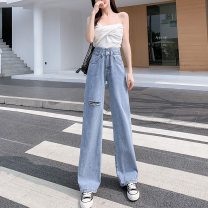 Jeans Summer 2021 S,M,L,XL trousers High waist Wide legged trousers routine 18-24 years old Worn, zipper, button other light colour 91% (inclusive) - 95% (inclusive)