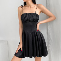 Dress Summer 2021 Black, complexion S,M,L singleton  Sleeveless commute square neck High waist Solid color Socket A-line skirt camisole 18-24 years old Type A TUMBD11772 31% (inclusive) - 50% (inclusive) polyester fiber