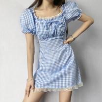 Dress Summer 2021 blue S,M,L Short skirt singleton  Short sleeve Sweet square neck High waist lattice Socket Princess Dress routine Others 18-24 years old Type A TUMCD12816 31% (inclusive) - 50% (inclusive) cotton