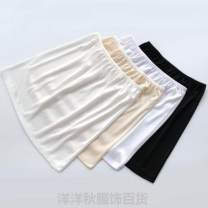 skirt Summer of 2019 One size fits all, short-s (40cm), short-m (41cm), short-l (42cm), short XL (43cm), Medium-s (50cm), medium-m (51cm), medium-l (52cm), medium XL (53cm)~ Apricot, black, milk white Short skirt Versatile Natural waist other Solid color 18-24 years old knitting