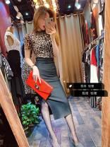 Fashion suit Autumn of 2019 S,M,L,XL Leopard + black, leopard top, black skirt