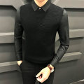 T-shirt / sweater FGN / rich bird Fashion City Black, gray S,M,L,XL,2XL,3XL routine Socket Shirt collar Long sleeves M-8351 autumn Slim fit 2020 Viscose (viscose) 50% polyester 27% polyamide (nylon) 23% leisure time Business Casual youth routine Solid color No iron treatment