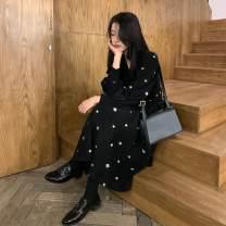 Dress Spring 2021 black S,M,L,XL longuette singleton  Long sleeves commute V-neck High waist Broken flowers Socket A-line skirt raglan sleeve Type A Korean version Embroidery 71% (inclusive) - 80% (inclusive) other other