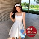 Dress Summer 2020 Black, sky blue, white S,M,L Mid length dress singleton  Sleeveless commute Crew neck High waist A-line skirt routine camisole 18-24 years old Type A Other / other Korean version other cotton