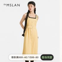 Dress Summer 2021 Daylight yellow S M L longuette singleton  Sleeveless commute One word collar High waist Solid color Socket A-line skirt routine camisole 25-29 years old theMSLAN Button MDBN5102 31% (inclusive) - 50% (inclusive) cotton Same model in shopping mall (sold online and offline)