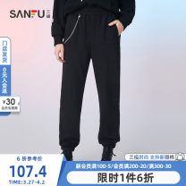 Casual pants Black grey apricot thin black thin grey thin S M L Winter 2020 trousers Haren pants Natural waist routine Sanfu cotton Cotton 55.5% polyester 41.9% polyurethane elastic fiber (spandex) 2.6% Same model in shopping mall (sold online and offline)