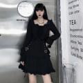 Women's large Autumn 2020 black M [80-100 Jin], l [100-120 Jin], XL [120-135 Jin], 2XL [135-150 Jin], 3XL [150-165 Jin], 4XL [165-180 Jin] singleton  Long sleeves Solid color square neck other Middle-skirt Irregular skirt