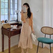 Women's large Summer 2021 Orange cardigan, orange dress, blue dress, blue cardigan S [80-90 Jin], m [90-100 Jin], l [100-120 Jin], XL [120-135 Jin], 2XL [135-150 Jin], 3XL [150-165 Jin], 4XL [165-180 Jin] Dress Two piece set commute moderate Socket Sleeveless Korean version Three dimensional cutting