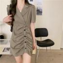 Dress Summer 2021 Green, black M [90-100 Jin], l [100-120 Jin], XL [120-135 Jin], 2XL [135-150 Jin], 3XL [150-165 Jin], 4XL [165-180 Jin] Middle-skirt singleton  Short sleeve commute V-neck Single breasted A-line skirt puff sleeve Type A Korean version Pleats, buttons