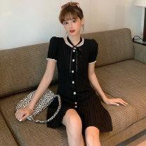 Dress Summer 2021 black L [100-120 Jin], XL [120-135 Jin], 2XL [135-150 Jin], 3XL [150-165 Jin], 4XL [165-180 Jin] Short skirt singleton  Short sleeve commute 18-24 years old Korean version