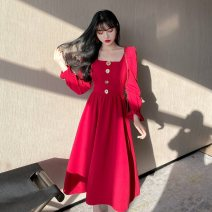 Dress Summer 2020 Red, black M [80-100 Jin], l [100-120 Jin], XL [120-135 Jin], XXL [135-150 Jin], 3XL [150-165 Jin], 4XL [165-180 Jin] Mid length dress singleton  commute Korean version Button