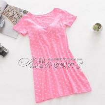 Nightdress Other / other Ml XL XXL [full 2 pieces minus 5 yuan] [full 3 pieces minus 10 yuan] Sweet Short sleeve Leisure home Middle-skirt Dot cotton
