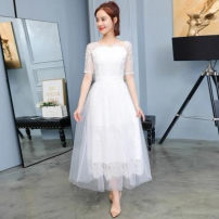 Dress Summer of 2018 White [high quality fabric] S suggests 85-95 Jin, m suggests 96-105 Jin, l suggests 106-118 Jin, XL suggests 119-130 Jin, 2XL suggests 130-140 Jin longuette singleton  Short sleeve commute middle-waisted Solid color Socket Princess Dress Type A Splicing Lace polyester fiber