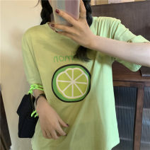 T-shirt M L XL XXL Summer 2020 Short sleeve Crew neck easy Regular routine commute cotton 96% and above 18-24 years old Korean version youth Letters for plants and flowers Butterfly fantasy printing Cotton 100% Pure e-commerce (online only)