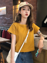 T-shirt Yellow green white black red pink purple apricot Retro Green S M L XL Spring 2020 Short sleeve Crew neck easy have cash less than that is registered in the accounts routine commute cotton 96% and above 18-24 years old Korean version classic Butterfly fantasy 2019DHY0227=3 Cotton 100%