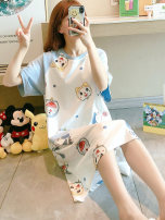 Nightdress Hodo / red bean M,L,XL,XXL Sweet Short sleeve pajamas Middle-skirt summer Cartoon animation youth Crew neck cotton printing More than 95% pure cotton Official flagship store of three guns