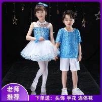 Children's performance clothes Sky blue skirt girl, sky blue suit boy, men's, women's neutral 110cm,120cm,130cm,140cm,150cm,160cm Other / other Class B other Polyester 100% polyester Four, five, six, seven, eight, nine, ten, eleven, twelve, thirteen, fourteen other