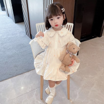 Dress Spring 2021 Picture color 80 (for 70cm-75cm), 90 (for 80cm-85cm), 100 (for 90cm-95cm), 110 (for 100cm-105cm), 120 (for 110cm-115cm), 130 (for 120cm-125cm) longuette singleton  Long sleeves commute V-neck Loose waist Solid color Single breasted A-line skirt routine Under 17 Other / other Bandage