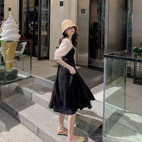 Dress Summer 2021 black S,M,L Mid length dress singleton  Short sleeve commute Crew neck High waist Solid color Socket A-line skirt bishop sleeve Others 25-29 years old Type A Other / other Korean version 91% (inclusive) - 95% (inclusive) polyester fiber