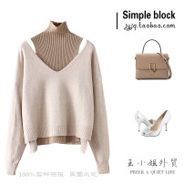 Wool knitwear Autumn of 2018 Average size Black, camel, khaki Long sleeves Two piece set Socket nylon 31% (inclusive) - 50% (inclusive) Regular routine street Straight cylinder routine Solid color Socket 25-29 years old Splicing Europe and America