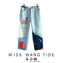 Casual pants Graph color S,L,M Summer of 2019 Ninth pants Straight pants High waist Sweet routine 25-29 years old 31% (inclusive) - 50% (inclusive) W0038 printing and dyeing polyester fiber solar system