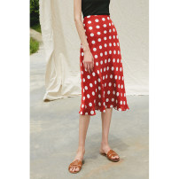 skirt Summer 2020 XS S M L White dot on red background Mid length dress commute High waist other Dot 25-29 years old More than 95% RoseLingLing polyester fiber Simplicity Polyester 100% Pure e-commerce (online only)