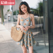 one piece  DUDU&MUMU M (recommended 80-100kg) l (recommended 100-112kg) XL (recommended 112-125kg) Sunflower - steel bracket Skirt one piece Steel strap breast pad Spandex polyester others HMN1969YC Autumn of 2019 female Sleeveless Casual swimsuit