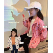 Plain coat Other / other female 80cm,90cm,100cm,110cm,120cm,130cm,140cm Make it a yard bigger in beige and a yard bigger in pink spring and autumn Korean version Zipper shirt routine No detachable cap letter Artificial colored cotton stand collar