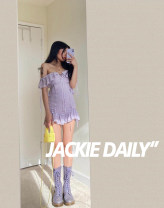 Dress Spring 2020 lilac colour Short skirt singleton  Sleeveless street One word collar High waist Broken flowers Socket Ruffle Skirt other camisole T-type Lace, lace, lace More than 95% Lace cotton Europe and America