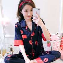 Pajamas / housewear set female Other / other 100-125kg (xl-125kg), 110kg (m-125kg) cotton Short sleeve Simplicity pajamas summer Thin money Small lapel Solid color trousers double-breasted youth 2 pieces rubber string More than 95% silk printing 200g and below