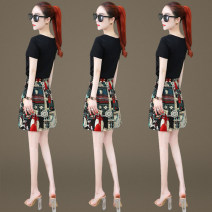 Dress Summer 2021 Furong flower wheel flower M L XL 2XL Short skirt Two piece set Short sleeve commute Crew neck High waist Decor Socket A-line skirt routine Others 25-29 years old Type A Zuo Xun Korean version printing 2035+3305D75Q More than 95% other other Other 100% Pure e-commerce (online only)