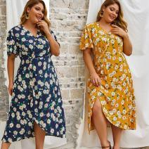 Dress Spring 2020 Yellow, sapphire blue Mid length dress singleton  Short sleeve Sweet V-neck High waist Others Ruili