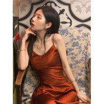 Dress Spring 2021 Caramel dress S,M,L Mid length dress singleton  Sleeveless commute V-neck High waist Solid color One pace skirt other 18-24 years old Type A Korean version Q 81% (inclusive) - 90% (inclusive)