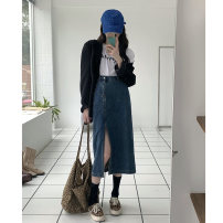 skirt Spring 2021 S,M,L Picture color Mid length dress commute High waist A-line skirt Solid color Type A 18-24 years old K 81% (inclusive) - 90% (inclusive) other other Korean version