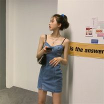 Dress Summer 2021 Denim skirt S,M,L Short skirt singleton  Sleeveless commute V-neck High waist Solid color Socket A-line skirt other camisole 18-24 years old Type A Korean version K 81% (inclusive) - 90% (inclusive) other