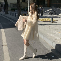 Dress Winter 2020 Apricot, black Average size longuette singleton  Long sleeves commute Crew neck Loose waist Socket routine Others 18-24 years old Korean version Lace K 81% (inclusive) - 90% (inclusive) other other