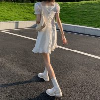 Dress Summer 2021 White, blue Average size Short skirt singleton  Short sleeve commute V-neck High waist Solid color Socket A-line skirt routine 18-24 years old Type A Korean version Bandage Q 81% (inclusive) - 90% (inclusive)