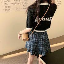 skirt Summer 2021 S. M, l, average size Green top, black top, blue plaid skirt Short skirt commute High waist A-line skirt lattice Type A 18-24 years old Q 81% (inclusive) - 90% (inclusive) Korean version