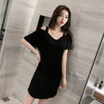Nightdress Other / other sexy camisole pajamas Middle-skirt summer Solid color youth Crew neck Polyester (polyester) More than 95% Modal fabric 200g and below